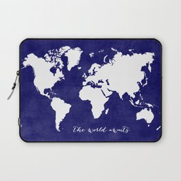 The world awaits in navy blue Laptop Sleeve