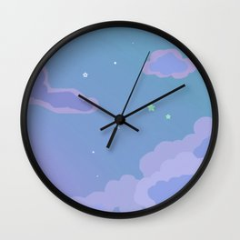 Purple Clouds and Stars Wall Clock