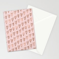 Pink Glam Hearts Stationery Cards