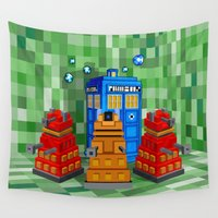 dalek Wall Tapestries featuring 8bit Dalek with tardis doctor who iPhone 4 4s 5 5c 6, pillow case, mugs and tshirt by Three Second