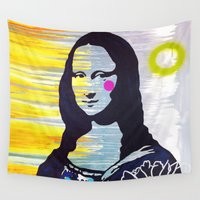 mona lisa Wall Tapestries featuring Mona Lisa by Paola Gonzalez