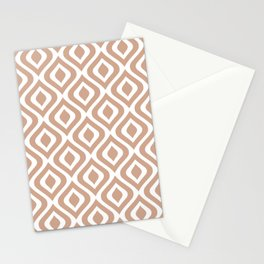 Mid Century Modern Diamond Ogee Pattern 125 Tan Stationery Cards