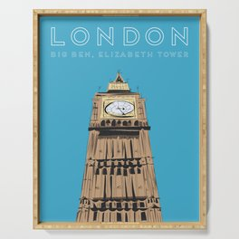 London Big Ben Travel Poster Serving Tray