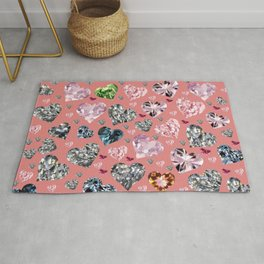 Heart Diamonds are Forever Love Pink Rug