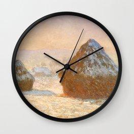 Wheatstacks, Snow Effect, Morning by Claude Monet Wall Clock