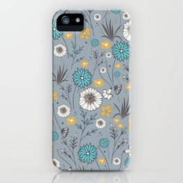 Emma_Wildflowers in Faded Denim Blue iPhone Case