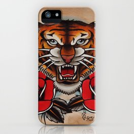 Old School Tiger and roses - tattoo iPhone Case