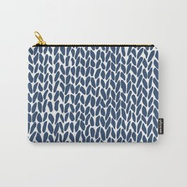 Hand Knit Zoom Navy Carry-All Pouch