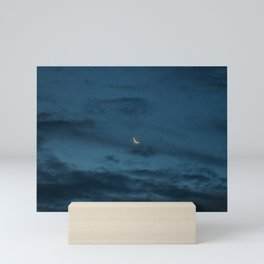 Morning Moonrise: Crescent in the Clouds Mini Art Print