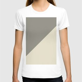 Modern abstract brown ivory color block pattern T-shirt
