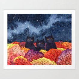 Three Black Cats in Autumn Watercolor Art Print