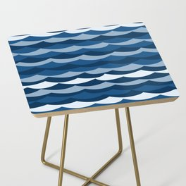 Classic Blue Wave Pattern Side Table
