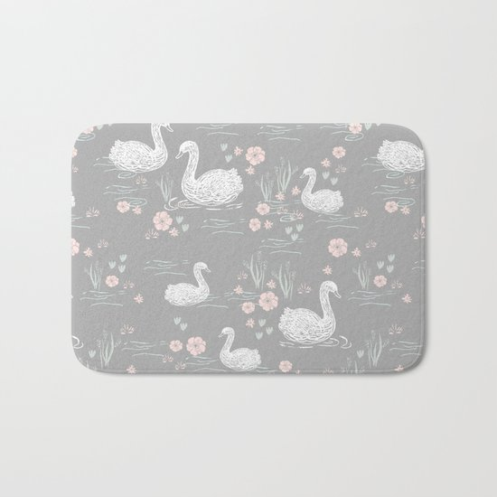 Swans painting cute girly trend cell phone case with swans pattern florals hand painted Bath Mat