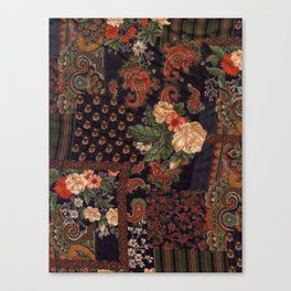 vintage fabric - black, red & pink pattern (roses) Canvas Print