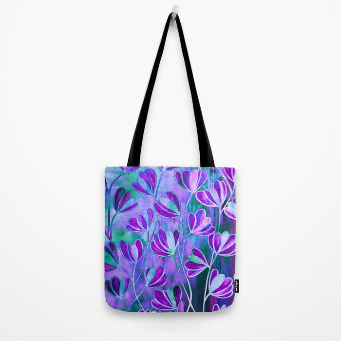 EFFLORESCENCE Lavender Purple Blue Colorful Floral Watercolor Painting Summer Garden Flowers Pattern Tote Bag