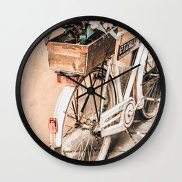 Flower Basket Vintage Bicycle Wall Clock