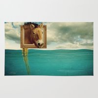 sea horse Area & Throw Rugs featuring Sea Horse by Ross Sinclair
