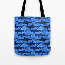 Sharks in the Blue, Blue Sea Tote Bag