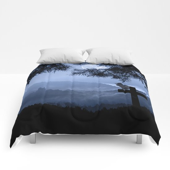 Castle in a foggy night Comforters