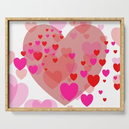 Flying pink red Hearts Serving Tray
