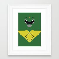 power ranger Framed Art Prints featuring Power Rangers - Green Ranger Minimalist by TracingHorses