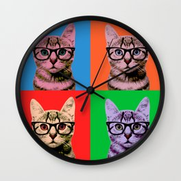 Cat in Four Colors Wall Clock