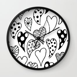 Patterned hearts Wall Clock