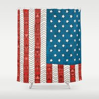 usa Shower Curtains featuring USA by Bianca Green