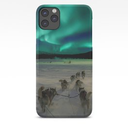 Winter Northern Lights Dog Sled (Color) iPhone Case