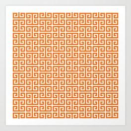 Orange and White Greek Key Pattern Art Print