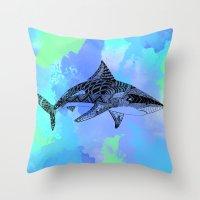 shark Throw Pillows featuring Shark by Riaora Creations