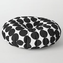 Midcentury Modern Dots Black and White Floor Pillow