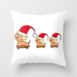 Christmas Dogs on Skateboards with Santa Hats Throw Pillow