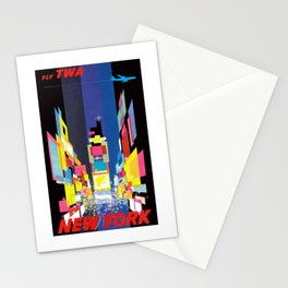 1960 New York Fly TWA Vintage Airline Poster Stationery Cards