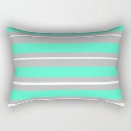 Turquoise gray white stripes Rectangular Pillow