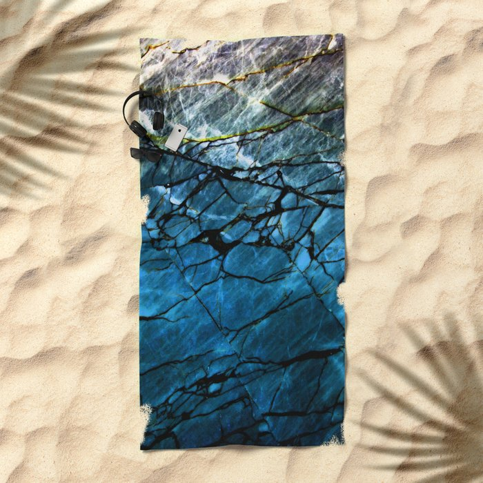 Blue Labradorite Crystal Beach Towel