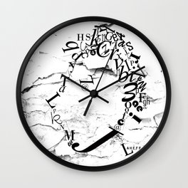 Typeface distressed Wall Clock