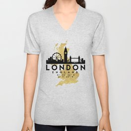 LONDON ENGLAND SILHOUETTE SKYLINE MAP ART Unisex V-Neck