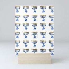 menorah 7,Hanukkah,jewish,jew,judaism,Festival of Lights,Dedication,jerusalem,lampstand,Temple, מְנו Mini Art Print