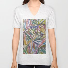 Abstract Flowers Watercolor Painting Unisex V-Neck