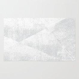White and Gray Lino Print Texture Geometric Rug