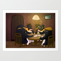 poker Art Prints featuring Poker by happymiaow