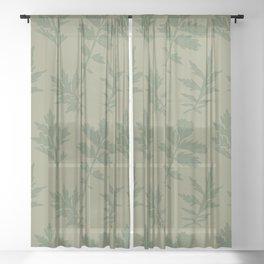 Woodcut Mugwort Leaf Toss in Sage + Dill Sheer Curtain