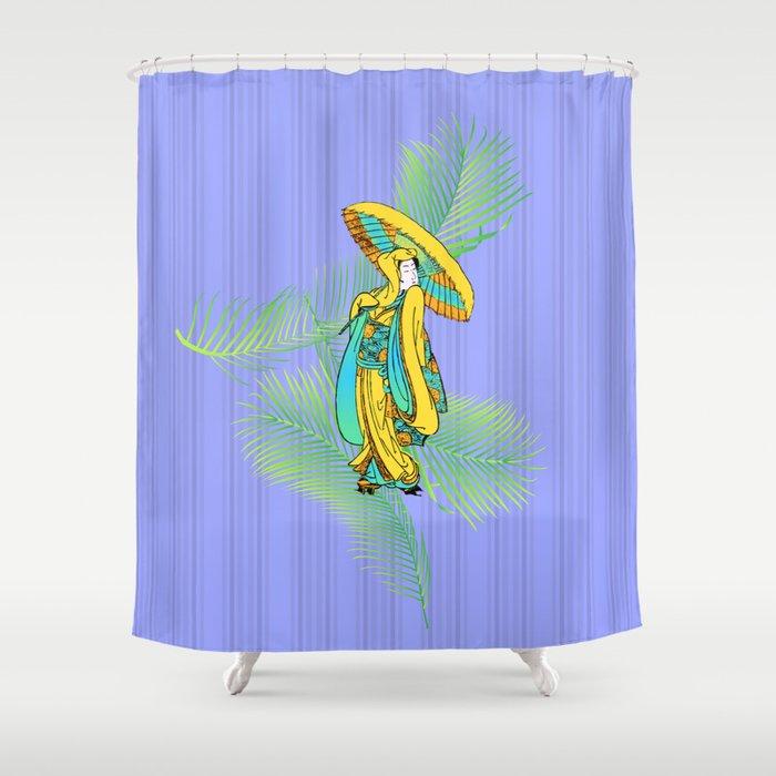 Tropical Geisha Shower Curtain