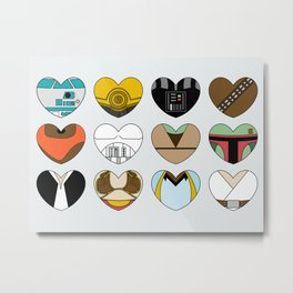 SW Character Hearts Metal Print