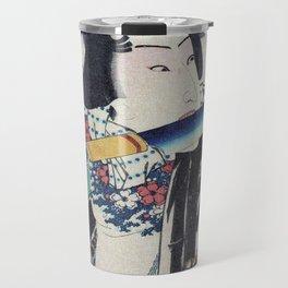 Kunichika Tattooed Warrior with Sayagata Pattern Background Travel Mug