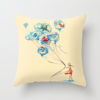 whimsical Throw Pillows featuring Water Balloons by Alice X. Zhang
