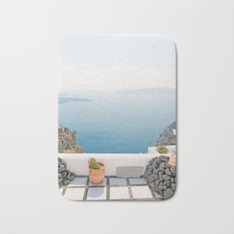 View on Santorini island Bath Mat