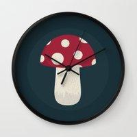mushroom Wall Clocks featuring mushroom by Emma S