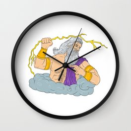 Zeus Wielding Thunderbolt Lightning Drawing Wall Clock